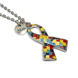 Jewelry - Mom Autism Awareness Ribbon Necklace Aspergers
